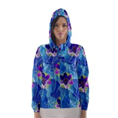 Purple Flowers Hooded Wind Breaker (women)