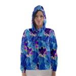 Purple Flowers Hooded Wind Breaker (Women)