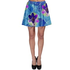 Purple Flowers Skater Skirt