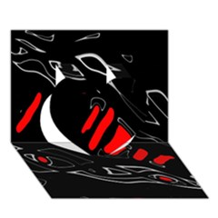 Black and red artistic abstraction Heart 3D Greeting Card (7x5) by Valentinaart