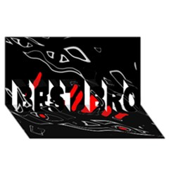 Black and red artistic abstraction BEST BRO 3D Greeting Card (8x4) by Valentinaart