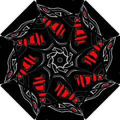 Black And Red Artistic Abstraction Hook Handle Umbrellas (small) by Valentinaart