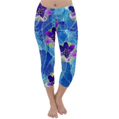 Purple Flowers Capri Winter Leggings