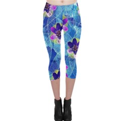 Purple Flowers Capri Leggings
