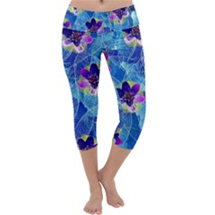 Purple Flowers Capri Yoga Leggings