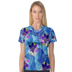 Purple Flowers Women s V Neck Sport Mesh Tee