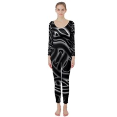 Black And White Decorative Design Long Sleeve Catsuit by Valentinaart