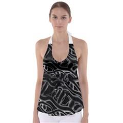 Black And White Decorative Design Babydoll Tankini Top