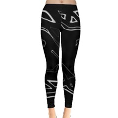 Black And White Leggings  by Valentinaart