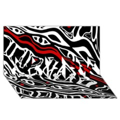 Red, Black And White Abstract Art Sorry 3d Greeting Card (8x4) by Valentinaart