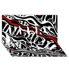 Red, Black And White Abstract Art Merry Xmas 3d Greeting Card (8x4)