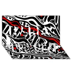 Red, Black And White Abstract Art Happy New Year 3d Greeting Card (8x4) by Valentinaart