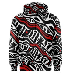 Red, Black And White Abstract Art Men s Zipper Hoodie by Valentinaart
