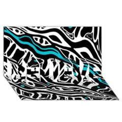 Blue, Black And White Abstract Art Believe 3d Greeting Card (8x4) by Valentinaart