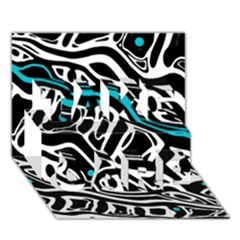 Blue, Black And White Abstract Art Take Care 3d Greeting Card (7x5) by Valentinaart