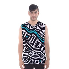 Blue, Black And White Abstract Art Men s Basketball Tank Top by Valentinaart