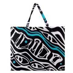 Blue, Black And White Abstract Art Zipper Large Tote Bag by Valentinaart