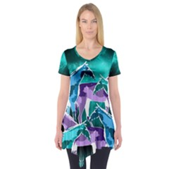 Horses Under A Galaxy Short Sleeve Tunic