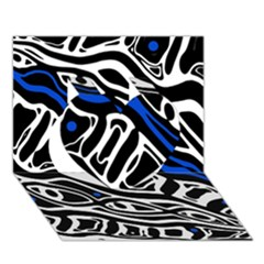 Deep Blue, Black And White Abstract Art Heart 3d Greeting Card (7x5) by Valentinaart