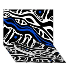 Deep Blue, Black And White Abstract Art Heart Bottom 3d Greeting Card (7x5) by Valentinaart