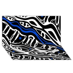 Deep Blue, Black And White Abstract Art Twin Heart Bottom 3d Greeting Card (8x4) by Valentinaart