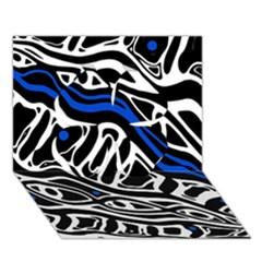 Deep Blue, Black And White Abstract Art Clover 3d Greeting Card (7x5) by Valentinaart