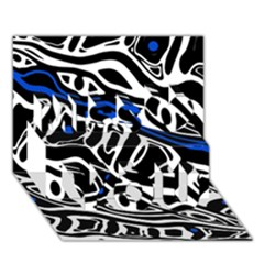 Deep Blue, Black And White Abstract Art Miss You 3d Greeting Card (7x5) by Valentinaart
