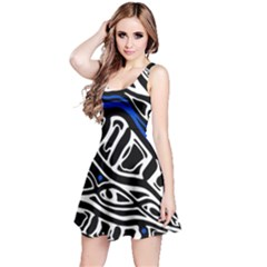 Deep Blue, Black And White Abstract Art Reversible Sleeveless Dress by Valentinaart
