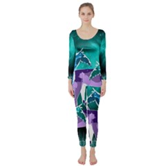 Horses Under A Galaxy Long Sleeve Catsuit