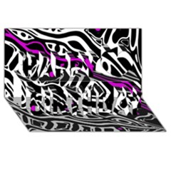 Purple, Black And White Abstract Art Happy Birthday 3d Greeting Card (8x4) by Valentinaart