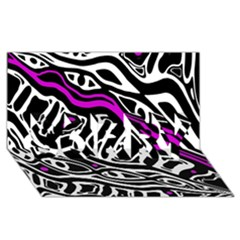 Purple, Black And White Abstract Art Sorry 3d Greeting Card (8x4) by Valentinaart