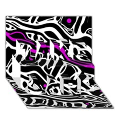 Purple, Black And White Abstract Art Take Care 3d Greeting Card (7x5) by Valentinaart