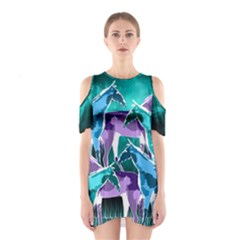 Horses Under A Galaxy Women s Cutout Shoulder One Piece