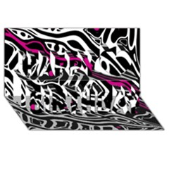 Magenta, Black And White Abstract Art Happy Birthday 3d Greeting Card (8x4) by Valentinaart
