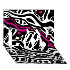 Magenta, Black And White Abstract Art Boy 3d Greeting Card (7x5) by Valentinaart