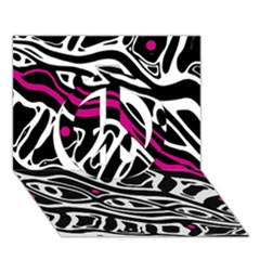 Magenta, Black And White Abstract Art Peace Sign 3d Greeting Card (7x5)