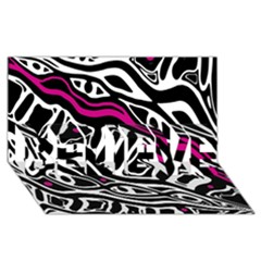 Magenta, Black And White Abstract Art Believe 3d Greeting Card (8x4) by Valentinaart