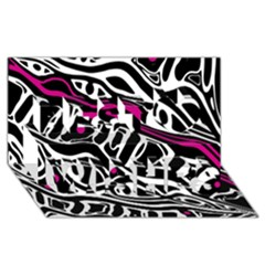 Magenta, Black And White Abstract Art Best Wish 3d Greeting Card (8x4) by Valentinaart