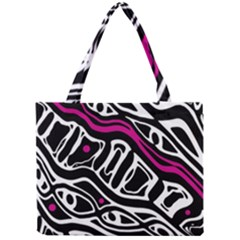 Magenta, Black And White Abstract Art Mini Tote Bag by Valentinaart