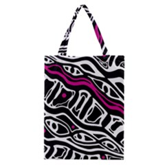 Magenta, Black And White Abstract Art Classic Tote Bag by Valentinaart