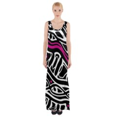 Magenta, Black And White Abstract Art Maxi Thigh Split Dress by Valentinaart