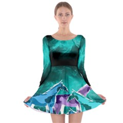Horses Under A Galaxy Long Sleeve Skater Dress