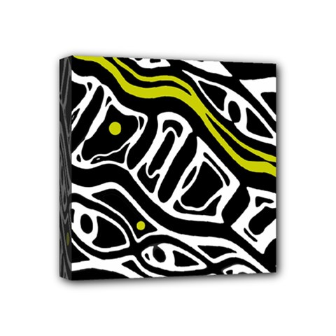 Yellow, Black And White Abstract Art Mini Canvas 4  X 4  by Valentinaart