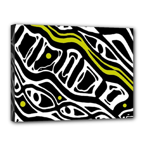 Yellow, Black And White Abstract Art Canvas 16  X 12  by Valentinaart