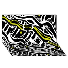 Yellow, Black And White Abstract Art Twin Hearts 3d Greeting Card (8x4) by Valentinaart