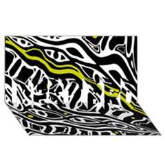 Yellow, Black And White Abstract Art Best Bro 3d Greeting Card (8x4) by Valentinaart