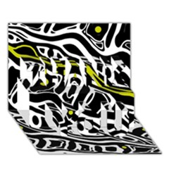 Yellow, Black And White Abstract Art Thank You 3d Greeting Card (7x5) by Valentinaart