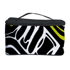 Yellow, Black And White Abstract Art Cosmetic Storage Case by Valentinaart