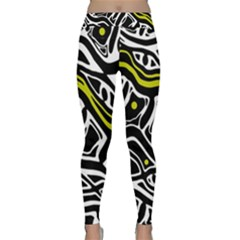 Yellow, Black And White Abstract Art Yoga Leggings  by Valentinaart