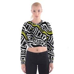 Yellow, Black And White Abstract Art Women s Cropped Sweatshirt by Valentinaart